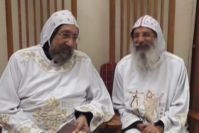 Bishop Maximus and Bishop Ermia at the Memorial Service on the 40th Day after the Death of Dr. Samuel Dawood in the Church of St. Mary, Marashly
