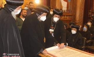 His Grace Bishop Ermia participates in the eve of enthroning His Grace Bishop Philopateer as bishop of Abu Qurqas