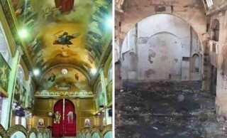 حريق هائل بكنيسة رئيس الملائكة سوريال والشهيد مارمينا بالعمرانية